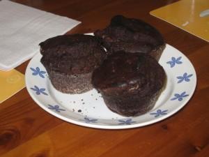 tre muffins al triplo cioccolato